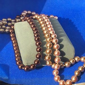 3 Tone Simulated Czech Pearl Joan Rivers Necklace